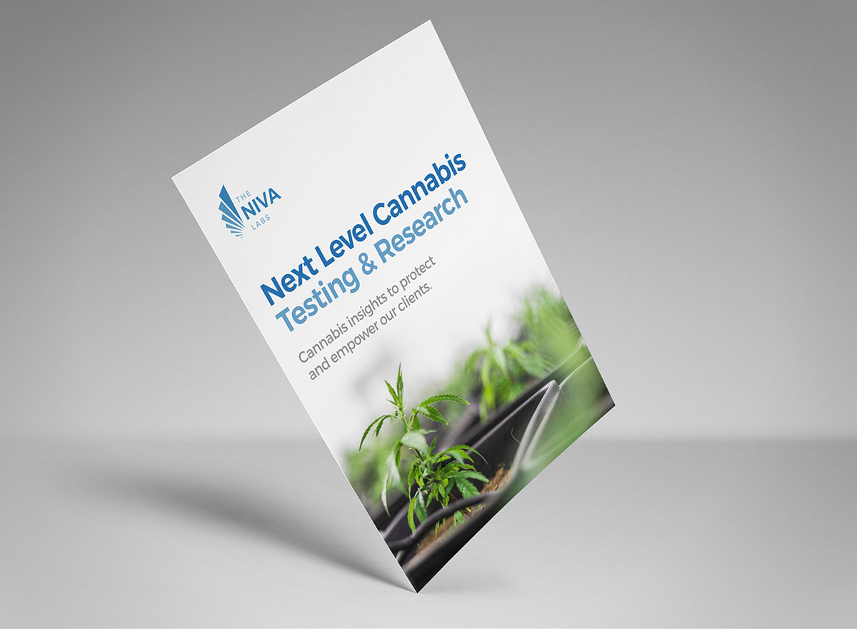 The Niva Labs logo and cannabis plant on printed marketing collateral