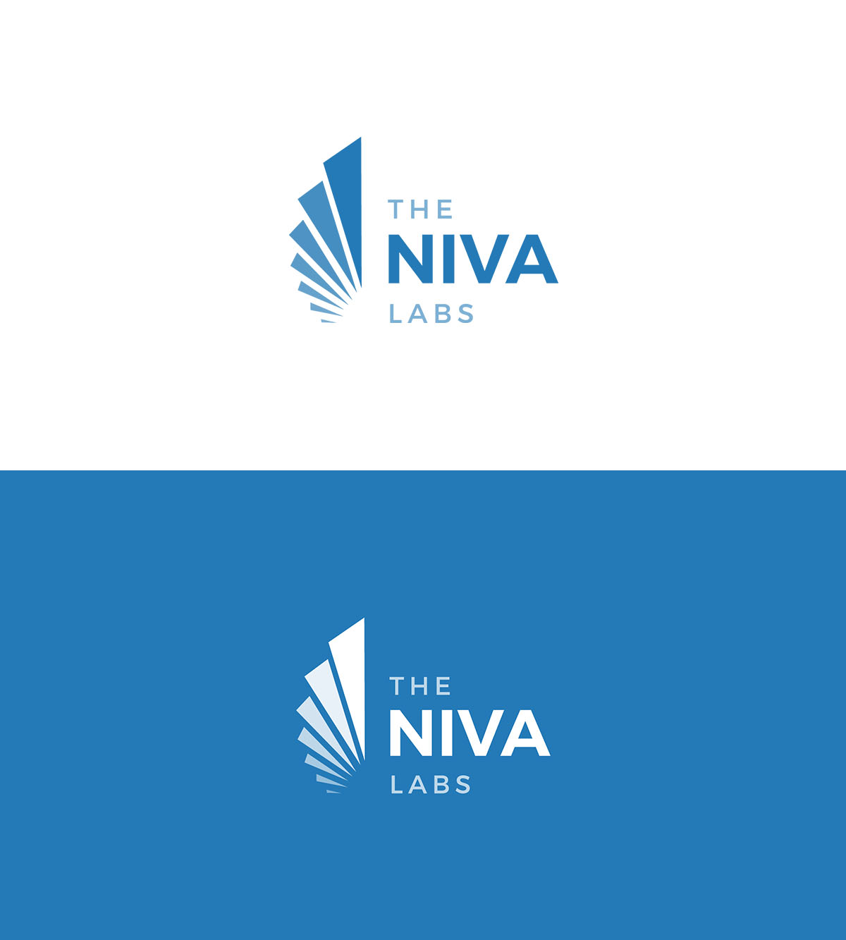 Blue Niva logo on white background and White Niva Logo on blue background.