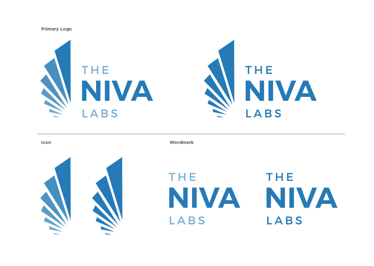 Primary Logo, Icon, and Wordmark for Cannabis Testing Lab, The Niva Labs.