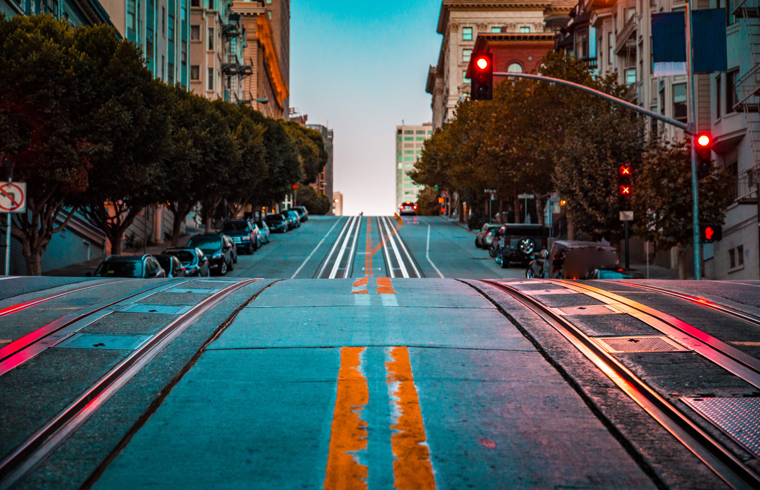 Uphill shot of San Francisco streets with cable car tracks